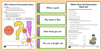 Using Exclamation Mark Resource Pack - Sentences, full stop, question mark, exclamation mark, punctuation