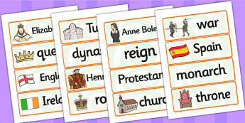 Elizabeth I Word Cards - elizabeth I, elizabeth 1st, word cards, topic cards, themed word cards, themed topic cards, key words, key word cards, keyword