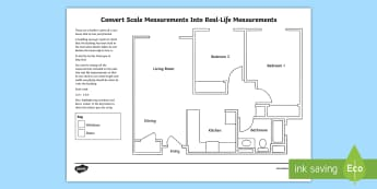 Convert Scale Measurements Into Real-Life Measurements: A Floor Plan Activity Sheet - Design it - Build it!, worksheet, converting measurements, ratio, units of measurements