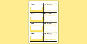 I Have Who Has Editable Cards - cards, editable cards, ourselves