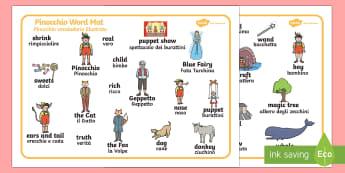 Pinocchio Word Mat English/Italian - Pinocchio Word Mat - Pinocchio, Geppetto, Blue Fairy, wand, father, boy, puppet, word mat, writing a
