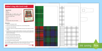 Father's Day Kilt Card Craft - june 18th, kilt, Scots, Scottish, Scotland, events, dads, tartan, plaid, sporran,Scottish