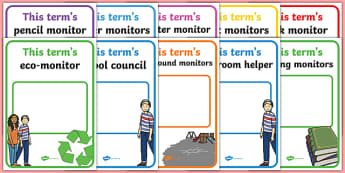 Classroom Monitor Display Signs (Termly) - Monitor, termly job signs, term, monitors, classroom monitors, pupil jobs, helpers, Teaching Labels