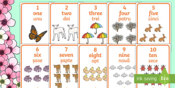 Spring Themed 1 10 Word and Number Display Posters-English-Romanian - Winter Themed Number Posters with Words & Numbers (1-10) -  Winter, numeracy, counting, number poste