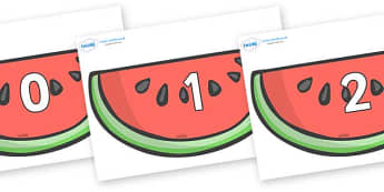 Numbers 0-50 on Watermelons to Support Teaching on The Very Hungry Caterpillar - 0-50, foundation stage numeracy, Number recognition, Number flashcards, counting, number frieze, Display numbers, number posters