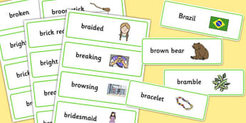 Two Syllable BR Word Cards - br, word cards, syllable, sound, sen