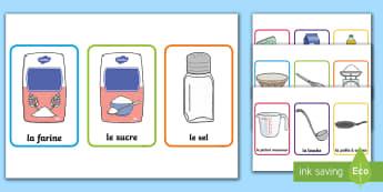 Flashcards sur la pâte à crêpes: ingrédients et ustensiles - EYFS-KS1 La Chandeleur (candlemass), French