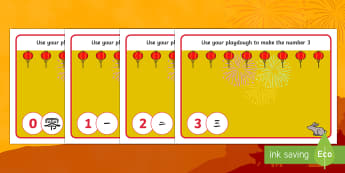 Chinese Numbers Playdough Mats - Chinese New Year, KS1, KS2, EYFS, Celebration, festivals, rooster