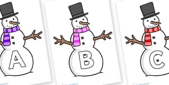 A-Z Alphabet on Snowman - A-Z, A4, display, Alphabet frieze, Display letters, Letter posters, A-Z letters, Alphabet flashcards