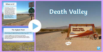 Death Valley PowerPoint - Death Valley, California, Desert, dry environment, borax, wandering rocks, valley, valleys, contrast