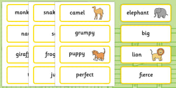 Word Cards to Support Teaching on Dear Zoo - Dear Zoo, Rod Campbell story, zoo, zoo animals, adjectives, descriptive words, lion, monkey, puppy, giraffe, story book, story book resources, story sequencing, story resources, zoo, animals, Word cards, W
