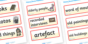 History Source Flashcards - history, how do we know about history, flashcards, cards, book, photos, old things, artefact
