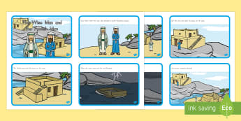 The Wise Man and The Foolish Man Story Sequencing 4 per A4 - usa, america, the wise man, the foolish man, wise, foolish, sand, rock, sequencing, story sequencing, story resources, A4, cards, 4 per A4, rain, houses, building, house, bible story, bible