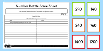 Year 5 Mental Maths Strategies Number Battle Pack - addition, add, subtract, subtraction, mental, mentally, mental calculations, strategy, compensation, partitioning, near doubles, game, differentiated