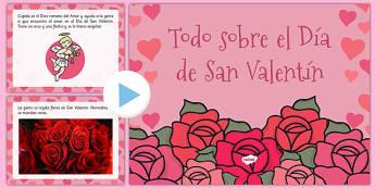 All About Valentine's Day PowerPoint Spanish - spanish, valentine, love, cupid