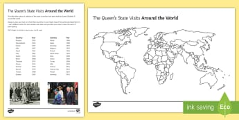 Queen's State Visits Activity Sheet - queen, birthday, state, world, visits, worksheet