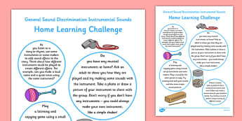 General Sound Discrimination Instrumental Sounds Home Learning Challenge Sheet FS1 - EYFS planning, Early years activities, homework activities, phonics, Letters and Sounds, Phase 1, Aspect 2, listening skills