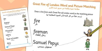 The Great Fire of London Word and Picture Matching Worksheet Arabic Translation - arabic