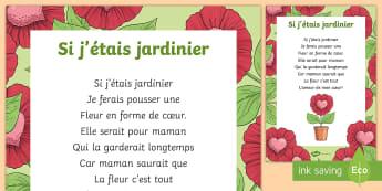Poème : Si j'étais jardinier - La fête des mères - La fête des mères, cycle 3,cycle 2,  KS2, Mother's Day, 28th May, 28 mai, maman, poème, poésie,