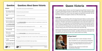 Queen Victoria Upper KS2 Differentiated Reading Comprehension Activity