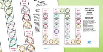 Telling the Time Board Game KS1 O'clock, Half Past, Quarter To and Past Polish Translation - polish, telling the time, board game, ks1, o'clock, half past, quarter to, quarter past