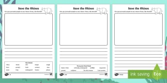 Endangered Animals Persuasive Writing Activity Sheets - Children's Books, Ronald the Rhino, children's book, rhyme, story, text, rhyming couplets, syllabl