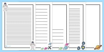 Space Themed Page Borders - Page border, a4 border, template, space, ship, space banner, rocket, aliens, launch, foundation stage, topic, moon, stars, planet, planets