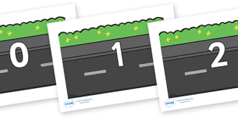 Numbers 0-50 on Roads (Plain) - 0-50, foundation stage numeracy, Number recognition, Number flashcards, counting, number frieze, Display numbers, number posters