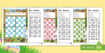 Easter Themed Sudoku Activity Sheets - sudoku, maths, problems, ks1, addition,