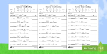 Differentiated Crack the Code Summer Activity Sheets Arabic/English - Worksheets, place value, addition, subtraction, Multiplication, division, ,Arabic-translation