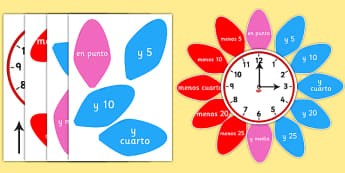 Analogue Clock Flower Labels Spanish - spanish, analogue, clock, flower, labels
