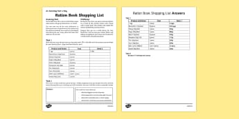 Ration Book Shopping List Activity Sheet, worksheet