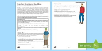 Greenfield Constituency Candidates Activity Sheet - General Election, 08/06/2017, voting, choices, candidates, reading, discussion.