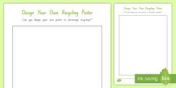 Design Your Own Recycling Poster Activity - tidy kiwi, New Zealand, rubbish, recycling, Years 1-6, poster, activity