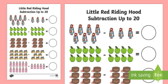 Little Red Riding Hood Subtraction Up to 20 Activity Sheet - Little Red Riding Hood Up to 20 Addition Sheet - Little, Red, Add, +, adition, redriding hood, littl