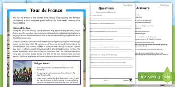 Tour de France Differentiated Reading Comprehension Activity-Australia - English, reading, comprehension,Australia, english, tour de france