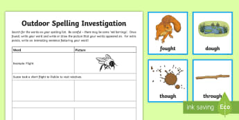 Spelling 'ought' Outdoor Activity Pack - CfE Outdoor Learning, nature, forest, woodland, playground, outdoor, spelling, grammar, sentence bui
