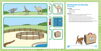 Matching Busy Bag Resource Pack for Parents to Support Teaching on Dear Zoo - Dear Zoo, Rod Campbell, animals, letter to the zoo, story recall, story retell, zoo, order, sort, ma