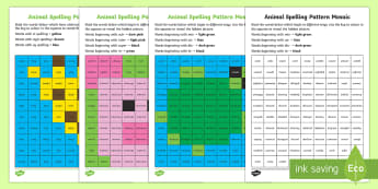 LKS2 Animal Spelling Patterns Mosaic Activity Pack - KS2, Year 3, Year 4, English, Reading, Spellings, Patterns, Mosaic, Animals, Homophones, Apostrophes
