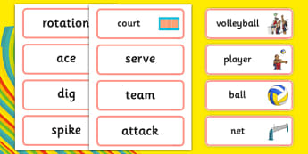 The Olympics Volleyball Word Cards - Volleyball, Olympics, Olympic Games, sports, Olympic, London, 2012, word card, flashcards, cards, activity, Olympic torch, events, flag, countries, medal, Olympic Rings, mascots, flame, compete
