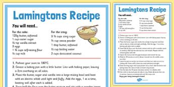 Lamingtons Recipe Sheet - australia, Recipe, Lamingtons, Cakes, Australian, Cooking, Baking, Procedure