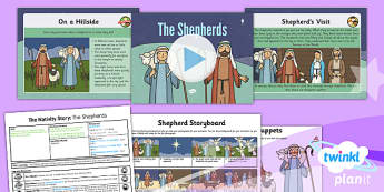PlanIt - RE Year 3 - The Nativity Story Lesson 4: The Shepherds Lesson Pack - angel, stable, message, Jesus, Mary