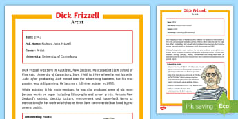 Dick Frizzell Fact File - New Zealand The Arts, NZ artists, NZ paintings, famous artists, Dick Frizzell