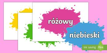 Nazwy kolorów na kleksach - kolor, kolory, fioletowy, zielony, niebieski, żółty, czerwony, biały, czarny, kleksy, gazetka, p