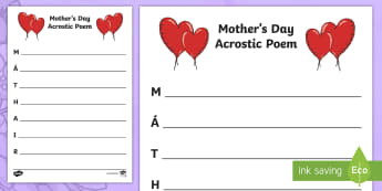 Mother's Day Acrostic Poem - Mothers Day, Lá na Maithreacha,Irish, acrostic, poem.