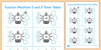 Function Machines 2 and 3 Times Tables - CfE, function machine, multiplication, times tables