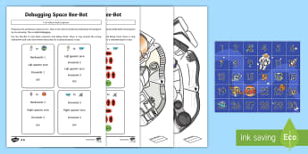 Create and Debug Programs with Space Bee-Bot  Activity Pack - KS1, curriculum aims, computing, Bee-Bot, instructions, algorithms, debug, create, mat, control, pro