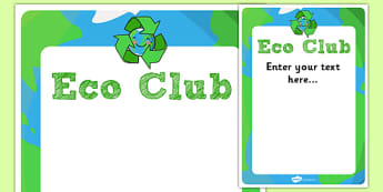 Eco Club Poster Editable Template - eco club, extracurricular, club, editable poster, template