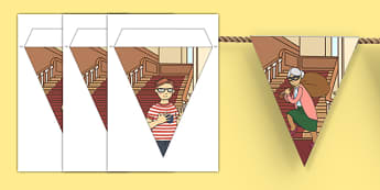 Criminal Granny Bunting - gangsta granny, criminal granny, david walliams, bunting, display