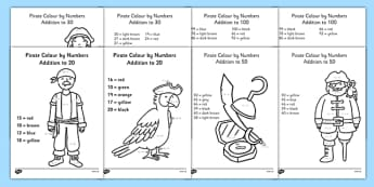 Pirate Themed Addition Colour by Numbers Pack - pirate, addition, colour by numbers, pack, add, colour, number